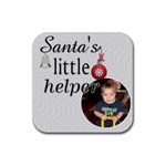 Santa s Little Helper Christmas Coaster - Rubber Coaster (Square)