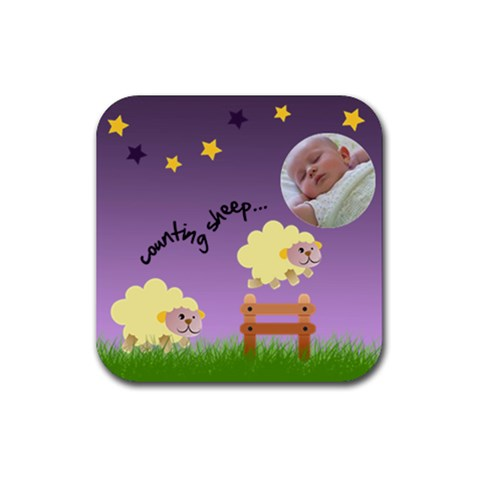 Counting Sheep 1   Ruber Coaster By Carmensita   Rubber Coaster (square)   Mj7s8jq4c0wz   Www Artscow Com Front