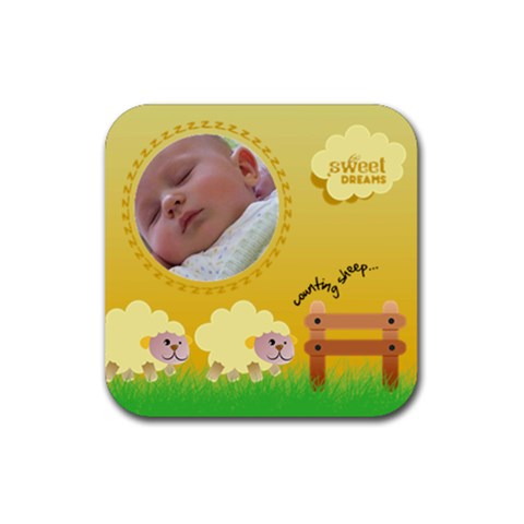Counting Sheep 4   Ruber Coaster By Carmensita   Rubber Coaster (square)   Z0kfaww6ldg2   Www Artscow Com Front