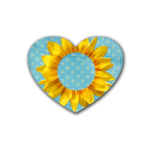 Sunflower Heart Coaster By Mikki   Rubber Coaster (heart)   A6h22c6jrttx   Www Artscow Com Front