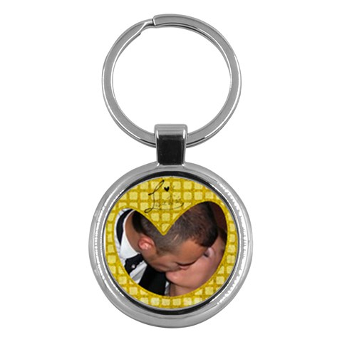 Yellow Heart   Key Chain By Carmensita   Key Chain (round)   3093dc8k6d2q   Www Artscow Com Front
