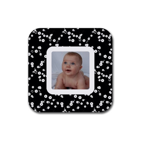 Simple Black Cherry Blossoms Coaster By Jen   Rubber Coaster (square)   Nqjdzzfm7w40   Www Artscow Com Front