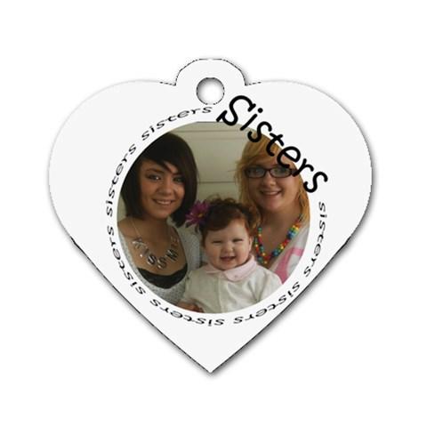 Sisters Hear Tag By Amanda Bunn   Dog Tag Heart (one Side)   Ty5cn7p8v9ug   Www Artscow Com Front