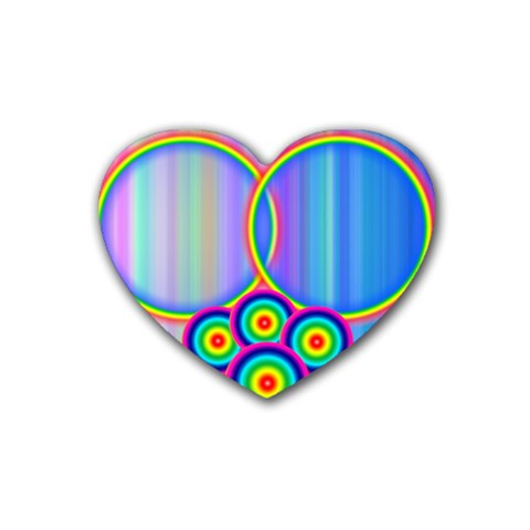 Rubber Heart Rainbows By Galya   Rubber Coaster (heart)   T1u3qbz1p6ut   Www Artscow Com Front