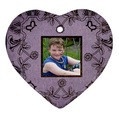 Classic Purple & Black Lace Heart Ornament By Catvinnat   Heart Ornament (two Sides)   Efrnx1h3o9bh   Www Artscow Com Front