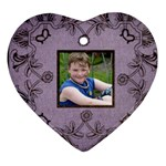 classic purple & black lace heart ornament - Heart Ornament (Two Sides)