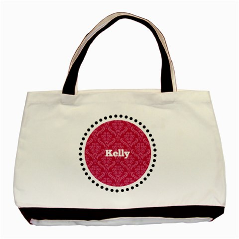 Black, White, & Pink Tote Bag By Klh   Basic Tote Bag   876nxz1xw0hx   Www Artscow Com Front