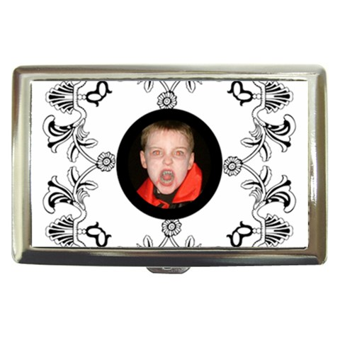 Classic White & Black Cigarette Money Case  By Catvinnat   Cigarette Money Case   28feiktxh02l   Www Artscow Com Front