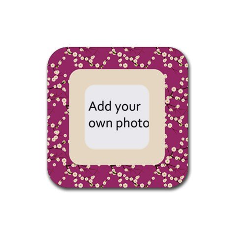 Simple Pink Cherry Blossoms Coaster By Jen   Rubber Coaster (square)   V4j8li2ym95n   Www Artscow Com Front