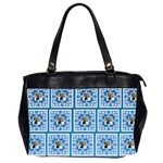 Art Nouveau Multi Frame bright blue & White oversized bag - Oversize Office Handbag (Two Sides)