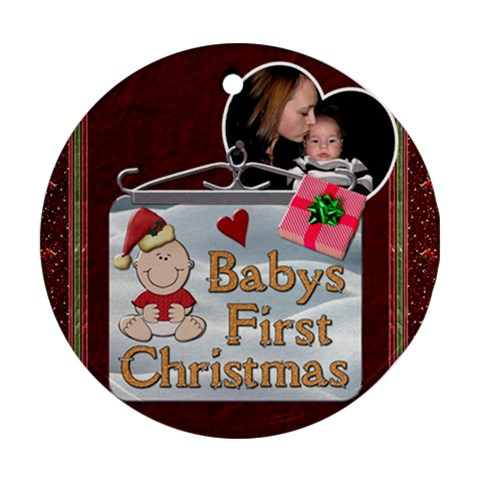 Babys First Christmas Ornament By Lil    Ornament (round)   L402psbvs7gw   Www Artscow Com Front
