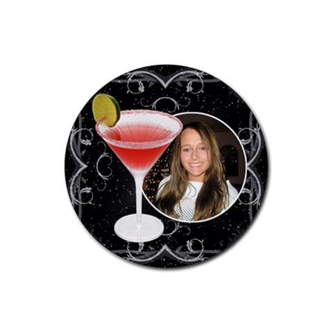 Black Floral Drink Coaster #1 By Lil    Rubber Coaster (round)   W8q9frf96xfe   Www Artscow Com Front