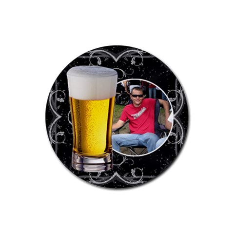 Black Floral Drink Coaster #4 By Lil    Rubber Coaster (round)   By9ss5kv7b7s   Www Artscow Com Front
