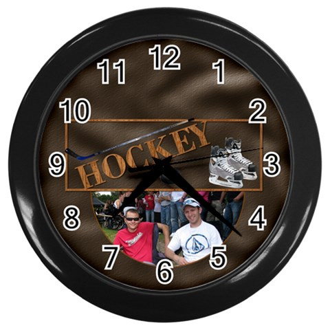 Hockey Wall Clock By Lil    Wall Clock (black)   V5rb1lpp73nw   Www Artscow Com Front