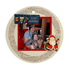 Happy Holidays Round Ornament 2 By Catvinnat   Round Ornament (two Sides)   701sfcdc8zg5   Www Artscow Com Front