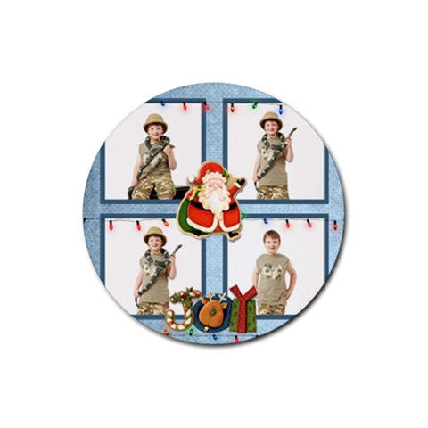 Joy Christmas Round Coaster By Catvinnat   Rubber Coaster (round)   Xgjb1a70tiyj   Www Artscow Com Front