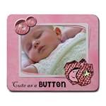 Cute as a button GIRL - Mousepad - Large Mousepad