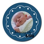 Sleeping baby blue - Mousepad - Round Mousepad