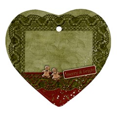 Merry Ornament  First Christmas By Mikki   Heart Ornament (two Sides)   P5worrf92nvz   Www Artscow Com Front