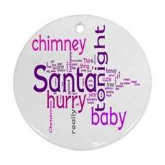 Santa Baby Round Christmas Ornament 2 Bright Pink & Purple By Catvinnat   Round Ornament (two Sides)   Irkntembl0vb   Www Artscow Com Front