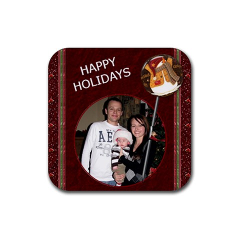 Happy Holidays Christmas Coaster By Lil    Rubber Coaster (square)   H93fp7idpdkp   Www Artscow Com Front