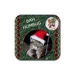 Bah Humbug Christmas Coaster - Rubber Coaster (Square)