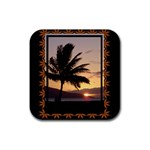 sunset3 coaster - Rubber Coaster (Square)