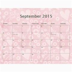 Art Nouveau 100% Love Pastel Pink Calendar 2015 By Catvinnat   Wall Calendar 11  X 8 5  (12 Months)   Ksczrgdr5av9   Www Artscow Com Sep 2015