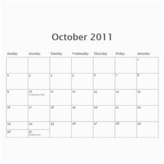 Calandar By Nikki   Wall Calendar 11  X 8 5  (12 Months)   J4jv29hwdcwy   Www Artscow Com Oct 2011