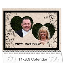 Twin Hearts Neutral Wedding Celebration Calendar 2015 By Catvinnat   Wall Calendar 11  X 8 5  (12 Months)   Q1skuhjbdt8c   Www Artscow Com Cover