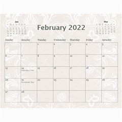 Twin Hearts Neutral Wedding Celebration Calendar 2015 By Catvinnat   Wall Calendar 11  X 8 5  (12 Months)   Q1skuhjbdt8c   Www Artscow Com Feb 2015