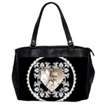 Lacy Heart Black & White oversized office bag - Oversize Office Handbag (2 Sides)