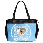 Lacy Heart sky blue oversized office bag - Oversize Office Handbag (2 Sides)
