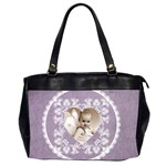 Lacy Heart lavendar oversized office bag - Oversize Office Handbag (2 Sides)