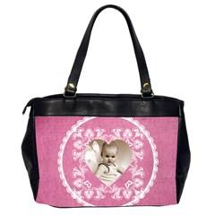Lacy Heart Deep Pink Oversized Office Bag By Catvinnat   Oversize Office Handbag (2 Sides)   Radjzjdtucum   Www Artscow Com Back
