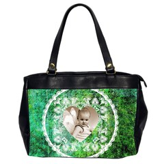Lacy Heart Deep Green Oversized Office Bag By Catvinnat   Oversize Office Handbag (2 Sides)   Pl9azcz9mgyq   Www Artscow Com Front