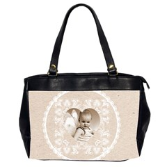 Lacy Heart Latte Oversized Office Bag By Catvinnat   Oversize Office Handbag (2 Sides)   U2344vz1l8kn   Www Artscow Com Front
