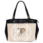 Lacy Heart latte oversized office bag - Oversize Office Handbag (2 Sides)