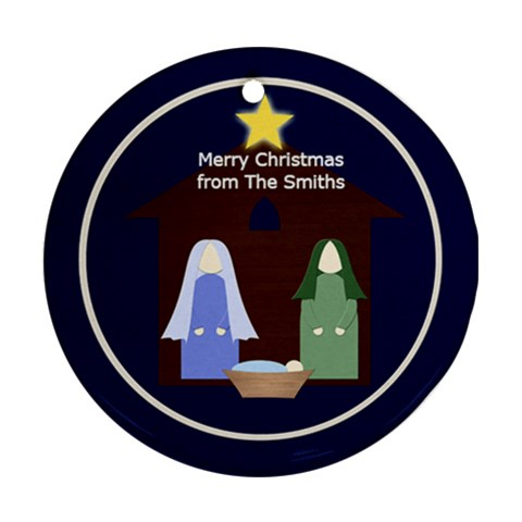 Christmas Ornament Nativity By Mim   Ornament (round)   79vblj0xey87   Www Artscow Com Front