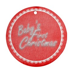 Baby s First Christmas Red & White Round Ornament By Catvinnat   Round Ornament (two Sides)   Homlp82pduae   Www Artscow Com Front
