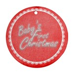 Baby s First Christmas Red & white round ornament - Round Ornament (Two Sides)