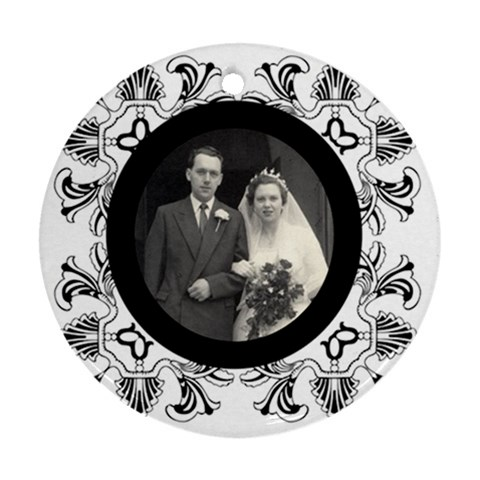 Art Nouveau Black & White Round Single Side Ornament By Catvinnat   Ornament (round)   G3p0f74cb4a1   Www Artscow Com Front
