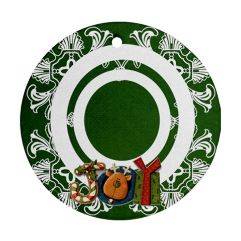 Art Nouveau Joy Hunter Green Round Single Side Ornament By Catvinnat   Ornament (round)   Nlc44u7yd0kv   Www Artscow Com Front