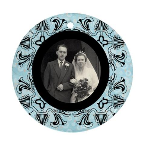 Art Nouveau Black & Blue Round Single Side Ornament By Catvinnat   Ornament (round)   Cw0w3r6f7ohy   Www Artscow Com Front