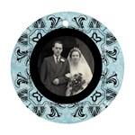art nouveau black & blue round single side ornament - Ornament (Round)