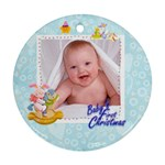 blanky bunny blue bab s first christmasround ornament - Ornament (Round)