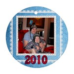 white laceblue 2010 christmas round ornament - Ornament (Round)