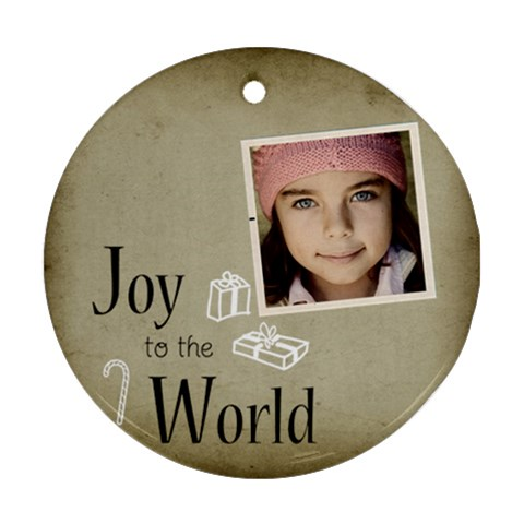 Christmas Joy To World Ornament Clear By Jorge   Ornament (round)   C0y1tc8s83qi   Www Artscow Com Front