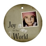Christmas Joy to World Ornament Clear - Ornament (Round)