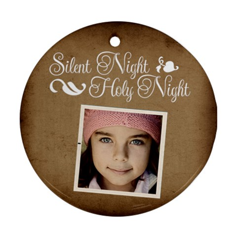 Christmas Silent Holy Night Ornament  By Jorge   Ornament (round)   Gxbir752nr8l   Www Artscow Com Front